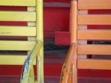 Coloured benches of a Konkan eatery