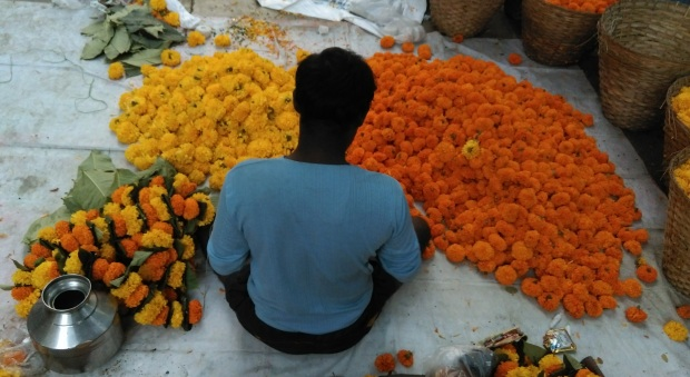 The marigold men of the Indian Diwali