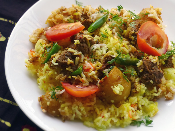 Mouth watering Lamb biryani takes pride of place on the table