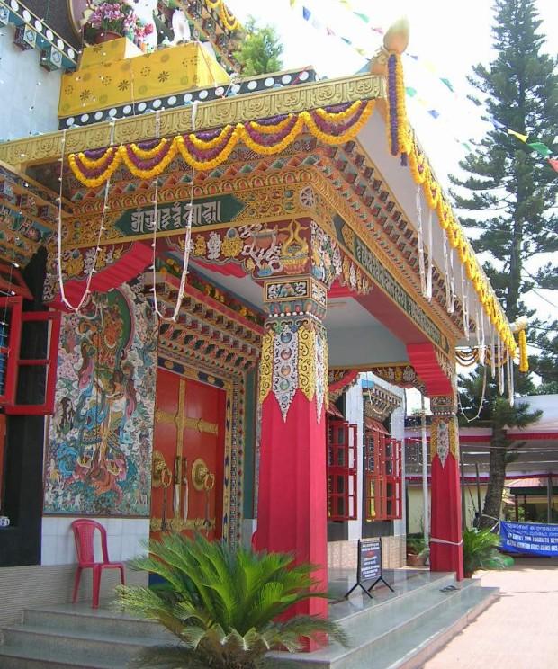 Vivid colours, adorn the walls and entrances of the sanctum