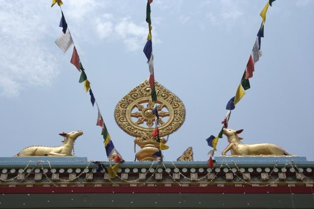 Prayer flags line the sky in Kushalnagar