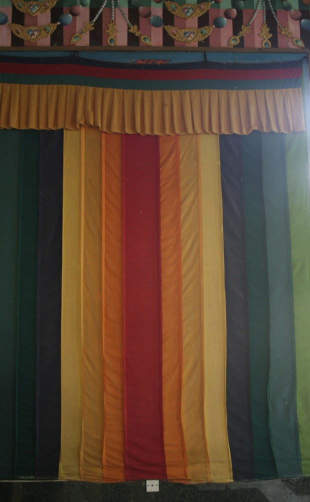 Colourful paper flags decorate the hallways