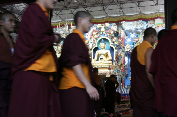 Monks arriving for the chanting