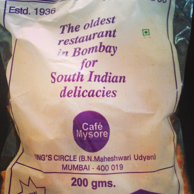 The snacks, particularly the spicy wafers are heavenly from Cafe Mysore