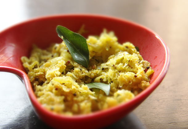Cabbage thoran, or stir fried cabbage. A simple, nutritious dish.