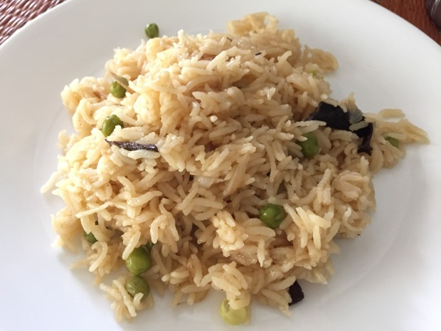 Pulav or pilaf made with caramalised onions and mutton stock
